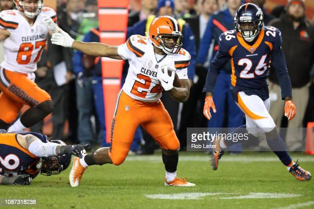 Nick Chubb of the Cleveland Browns runs with the ball during the game against the Denver Broncos at Broncos Stadium at Mile High on December 15 2018...
