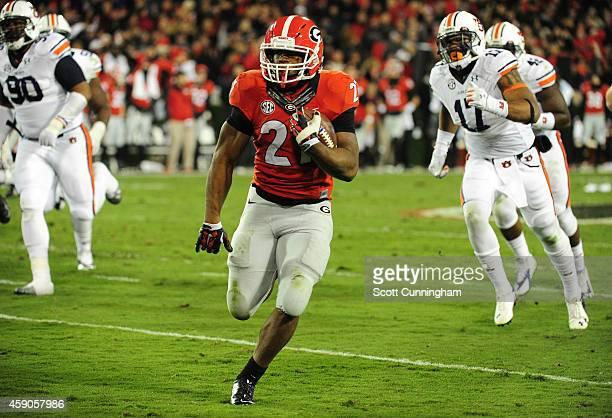 Nick Chubb of the Georgia Bulldogs carries the ball against the Auburn Tigers at Sanford Stadium on November 15 2014 in Athens Georgia