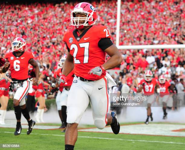 Nick Chubb of the Georgia Bulldogs takes the field before the game against the Mississippi State Bulldogs at Sanford Stadium on September 23 2017 in...