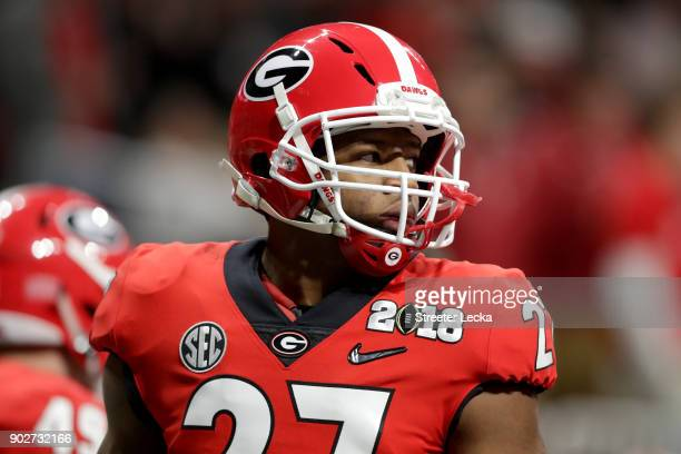 Nick Chubb of the Georgia Bulldogs warms up prior to the game against the Alabama Crimson Tide in the CFP National Championship presented by ATT at...