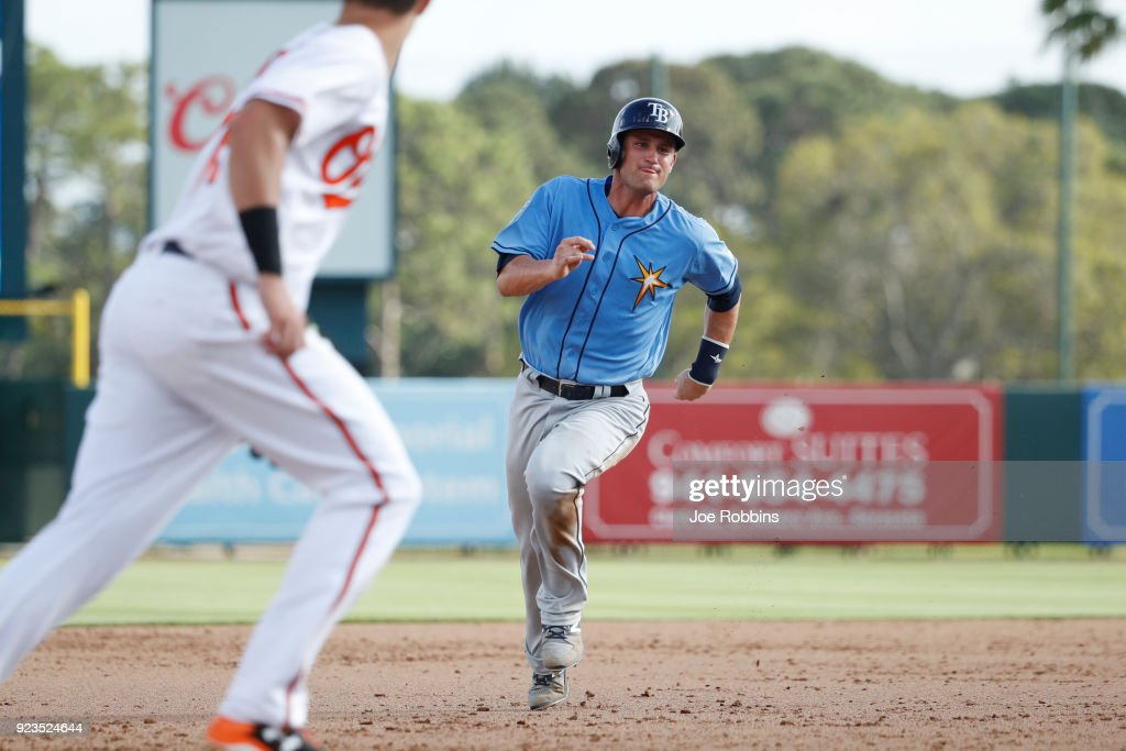 Nick Ciuffo #72 of the Tampa Bay Rays advances to third base against the Baltimore Orioles in the ninth inning of a Grapefruit League spring training game at Ed Smith Stadium on February 23, 2018 in Sarasota, Florida. The Rays won 6-3.