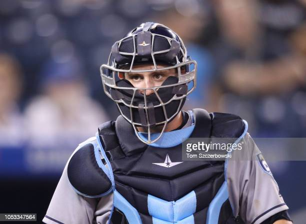Nick Ciuffo of the Tampa Bay Rays looks on from behind home plate during MLB game action against the Toronto Blue Jays at Rogers Centre on September...