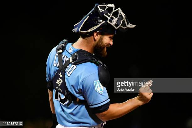 Nick Ciuffo of the Tampa Bay Rays signals to the bench during the ninth inning against the Minnesota Twins at Charlotte Sports Park on February 28...