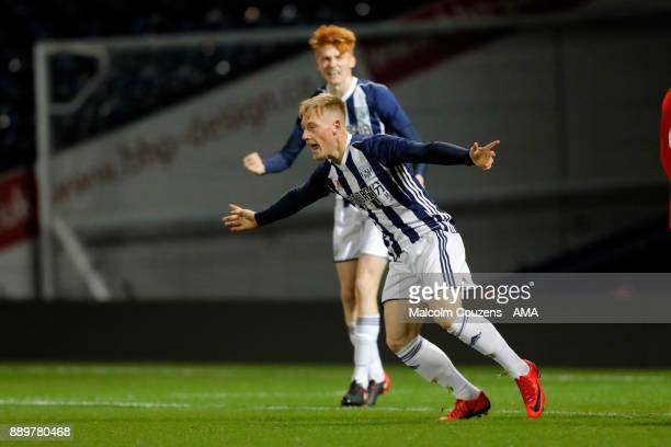 Nick ClaytonPhillips of West Bromwich Albion celebrates scoring the first goal of the game during the FA Youth Cup game between West Bromwich Albion...