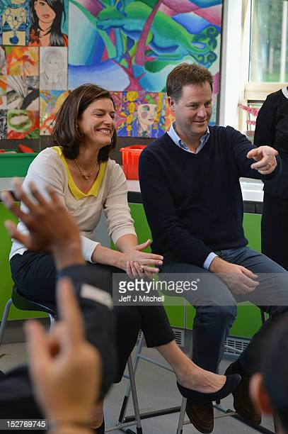 Nick Clegg and his wife Miriam visit Brighton Aldridge Community Academy on September 25 2012 in Brighton England The Liberal Democrat leader who is...