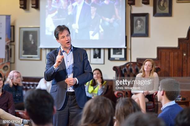 Nick Clegg at The Cambridge Union on April 27 2016 in Cambridge Cambridgeshire Nick Clegg has been the MP for Sheffield Hallam since 2005 and is the...