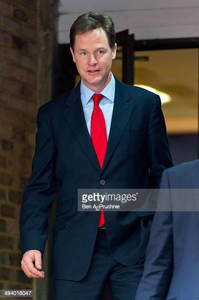 Nick Clegg departs Alec Wizard House on May 27 2014 in London England More than 300 Liberal Democrat activists have put their name to an online...