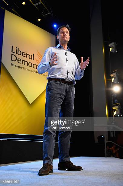Nick Clegg Deputy Prime Minister and leader of the Liberal Democrats addresses delegates at an evening rally during the partys autumn conference on...