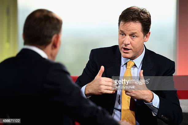 Nick Clegg Deputy Prime Minister and leader of the Liberal Democrats appears on the Andrew Marr show at BBC Scotland Pacific Quay on October 5 2014...
