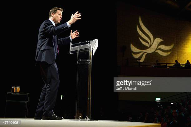 Nick Clegg deputy prime minister and leader of the Liberal Democrats gives his key note address to the party spring conference on March 9 2014 in...