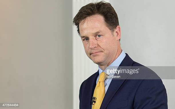Nick Clegg Leader of the Liberal Democrats delivers a statement of his resignation at the ICA on May 8 2015 in London England After the United...