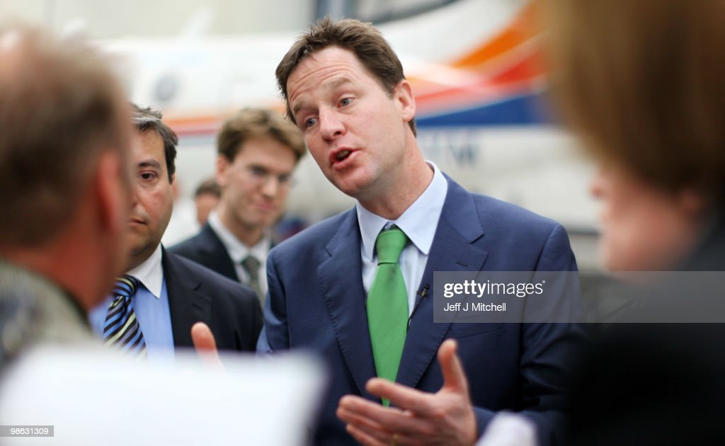 Nick Clegg, leader of the Liberal Democrats, speaks to employees as he visits Newcastle Aviation Academy, on April 23, 2010 in Newcastle, England. The General Election, to be held on May 6, 2010 is set to be one of the most closely fought political contests in recent times with all main party leaders embarking on a four week campaign to win the votes of the United Kingdom electorate.