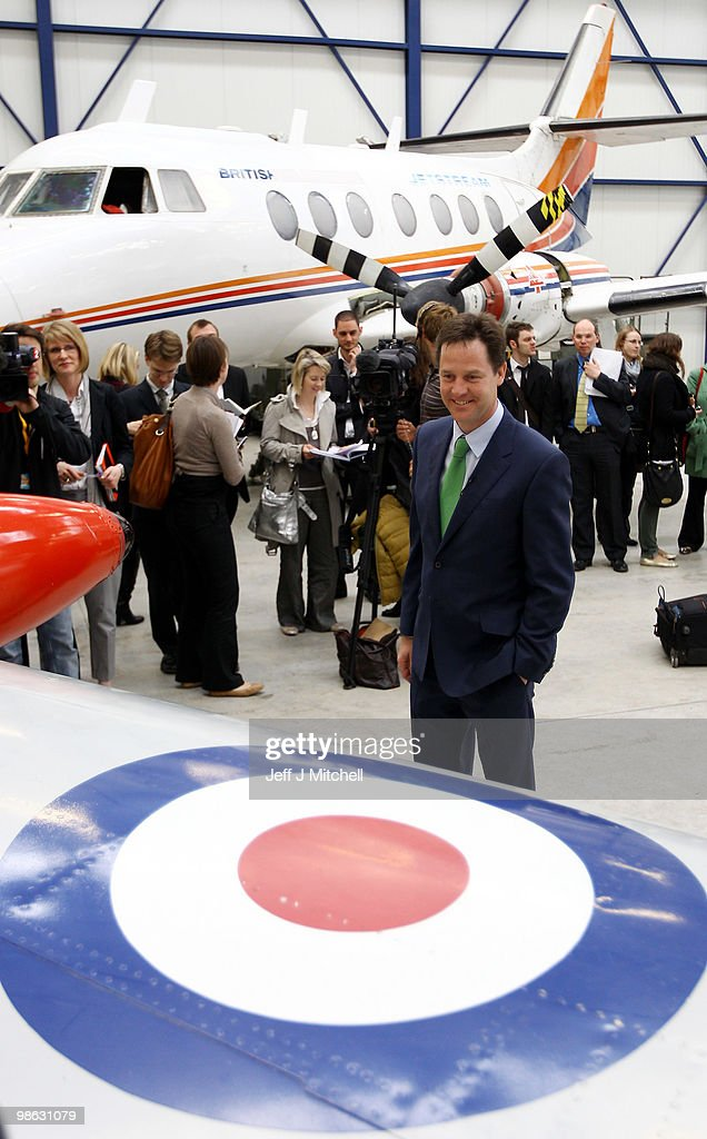 Nick Clegg, leader of the Liberal Democrats, visits Newcastle Aviation Academy, as the Liberal Democrats continue their election campaign on April 23, 2010 in Newcastle, England. The General Election, to be held on May 6, 2010 is set to be one of the most closely fought political contests in recent times with all main party leaders embarking on a four week campaign to win the votes of the United Kingdom electorate.