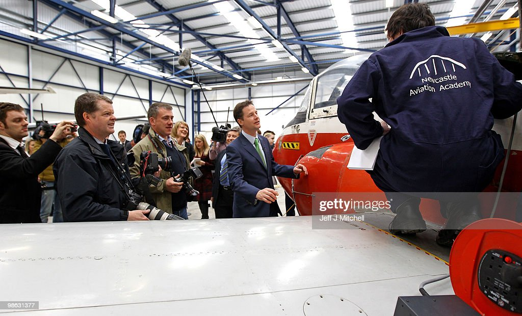 Nick Clegg, leader of the Liberal Democrats, visits Newcastle Aviation Academy on April 23, 2010 in Newcastle, England. The General Election, to be held on May 6, 2010 is set to be one of the most closely fought political contests in recent times with all main party leaders embarking on a four week campaign to win the votes of the United Kingdom electorate.
