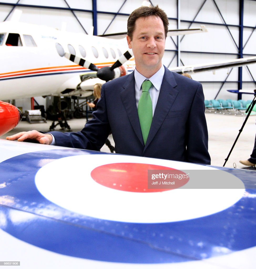 Nick Clegg leader of the Liberal Democrats visits Newcastle Aviation Academy on April 23, 2010 in Newcastle, England. The General Election, to be held on May 6, 2010 is set to be one of the most closely fought political contests in recent times with all main party leaders embarking on a four week campaign to win the votes of the United Kingdom electorate.