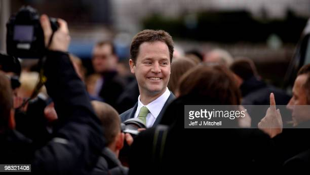 Nick Clegg Liberal Democrat Leader joins the general election campaign trail on April 8 2010 in Glasgow Scotland The General Election to be held on...