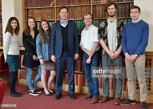 Nick Clegg with Liberal Democrat supporting students at the Cambridge Union on April 27 2016 in Cambridge Cambridgeshire Nick Clegg has been the MP...