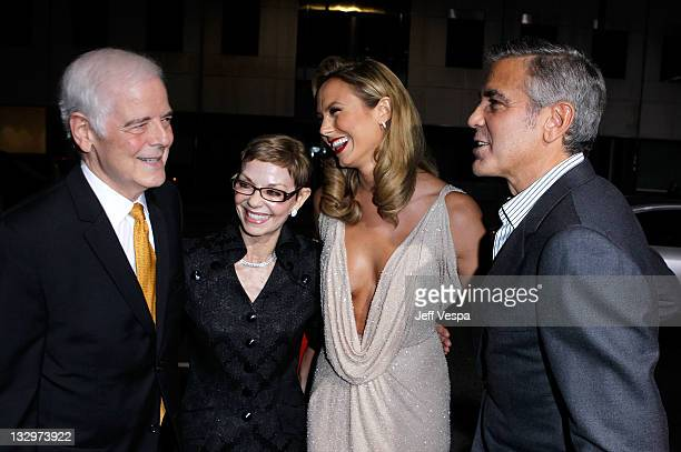 Nick Clooney Nina Bruce and actors Stacy Keibler and George Clooney arrive at The Descendants Los Angeles Premiere at AMPAS Samuel Goldwyn Theater on...
