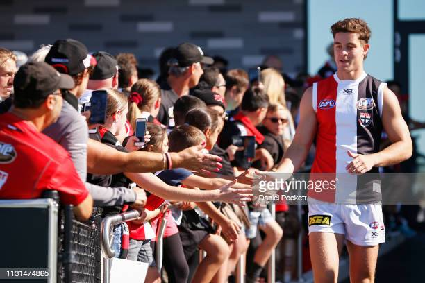 Nick Coffield of the Saints runas out during the St Kilda preseason club match at RSEA Park on February 23 2019 in Melbourne Australia
