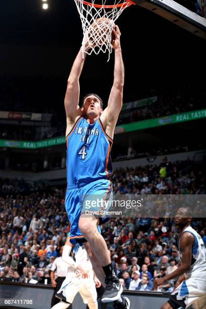 Nick Collison of the Oklahoma City Thunder goes for the dunk during the game against the Minnesota Timberwolves on April 11 2017 at Target Center in...
