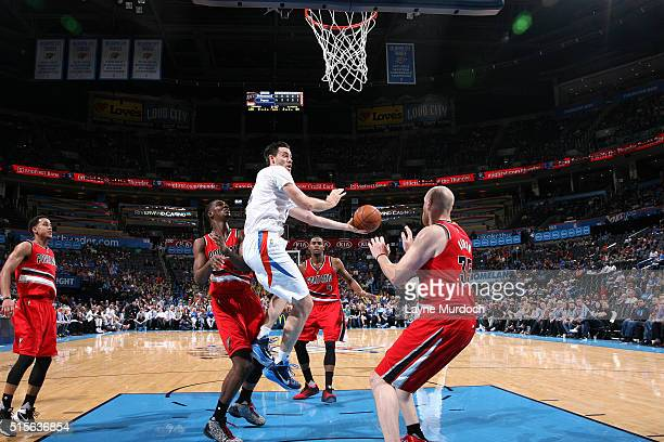Nick Collison of the Oklahoma City Thunder goes for the layup during the game against the Portland Trail Blazers on March 14 2016 at Chesapeake...