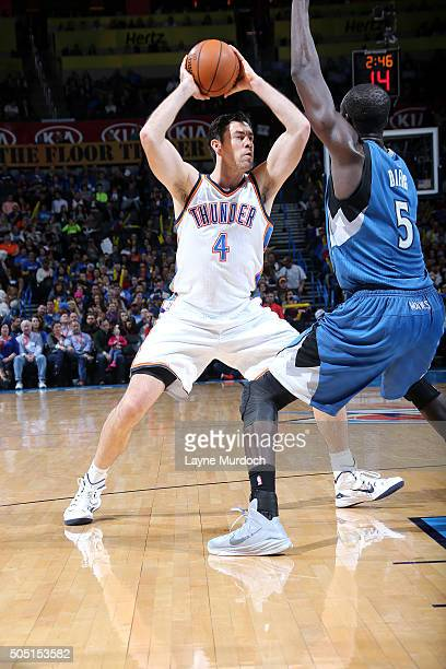 Nick Collison of the Oklahoma City Thunder handles the ball during the game against the Minnesota Timberwolves on January 15 2016 at Chesapeake...