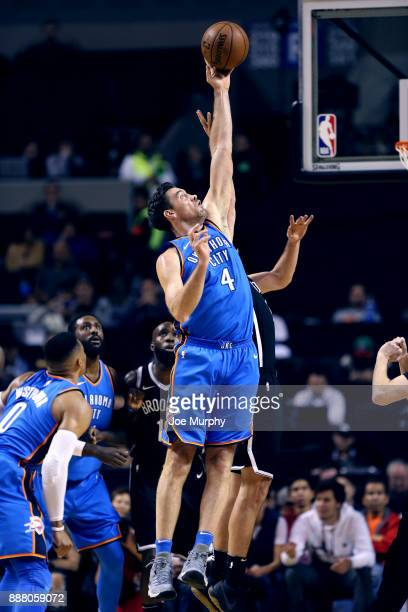 Nick Collison of the Oklahoma City Thunder jumps for the ball against the Brooklyn Nets as part of the NBA Mexico Games 2017 on December 7 2017 at...