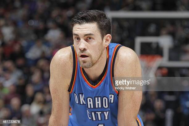 Nick Collison of the Oklahoma City Thunder looks on during the game against the Sacramento Kings on January 7 2015 at Sleep Train Arena in Sacramento...
