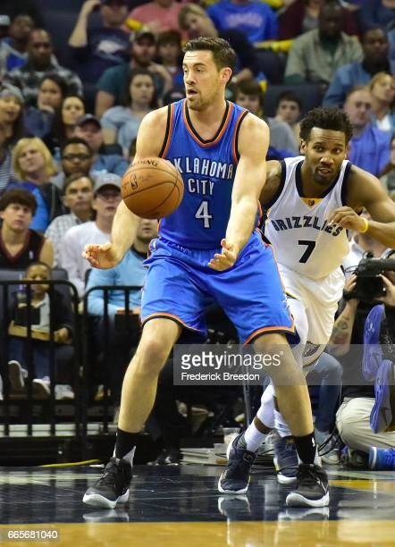 Nick Collison of the Oklahoma City Thunder plays against the Memphis Grizzlies during a 103100 Thunder victory at FedExForum on April 5 2017 in...