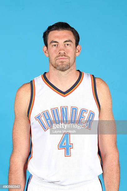 Nick Collison of the Oklahoma City Thunder poses for a portrait during 2015 NBA Media Day on September 28 2015 at the Thunder Events Center in Edmond...