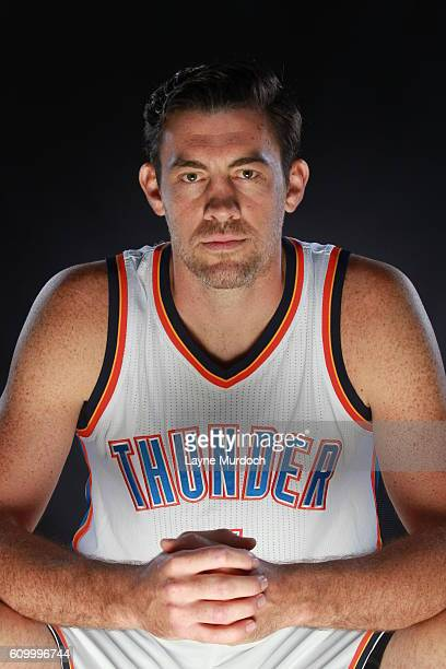 Nick Collison of the Oklahoma City Thunder poses for a portrait during 2016 NBA Media Day on September 23 2016 at the Chesapeake Energy Arena in...