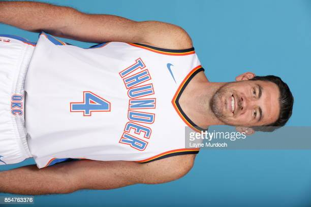 Nick Collison of the Oklahoma City Thunder poses for a portrait during 2017 NBA Media Day on September 25 2017 at the Chesapeake Energy Arena in...