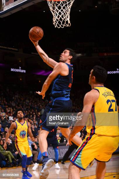 Nick Collison of the Oklahoma City Thunder shoots the ball against the Golden State Warriors on February 24 2018 at ORACLE Arena in Oakland...