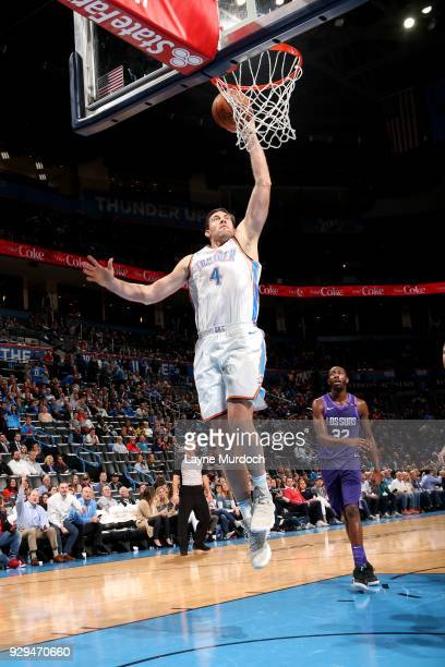 Nick Collison of the Oklahoma City Thunder shoots the ball during the game against the Phoenix Suns on March 8 2018 at Chesapeake Energy Arena in...