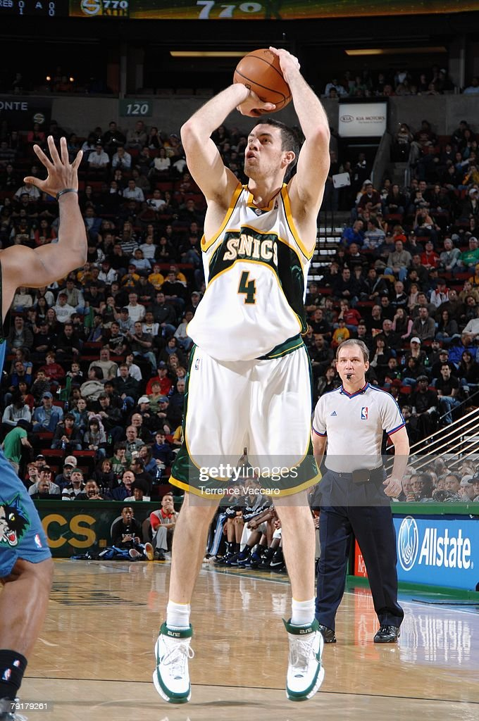 Nick Collison #4 of the Seattle SuperSonics goes up for a shot during the game against the Minnesota Timberwolves at Key Arena on December 29, 2007 in Seattle, Washington. The Sonics won 109-90.