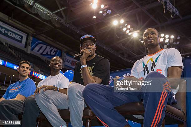 Nick Collison Reggie Jackson Kevin Durant and Serge Ibaka of the Oklahoma City Thunder during the annual season ticket holder event at the Chesapeake...