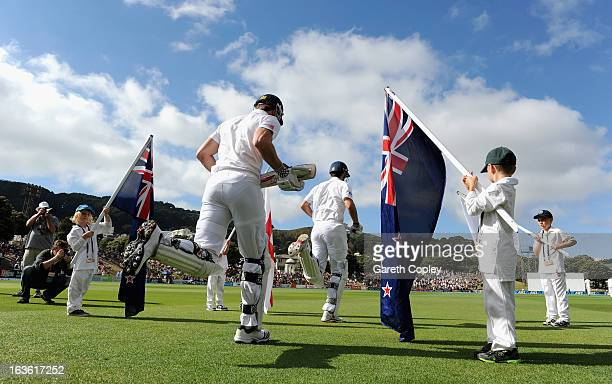 Nick Compton and Alastair Cook of England ran out for the start of day one of the 2nd Test match between New Zealand and England at Basin Reserve on...