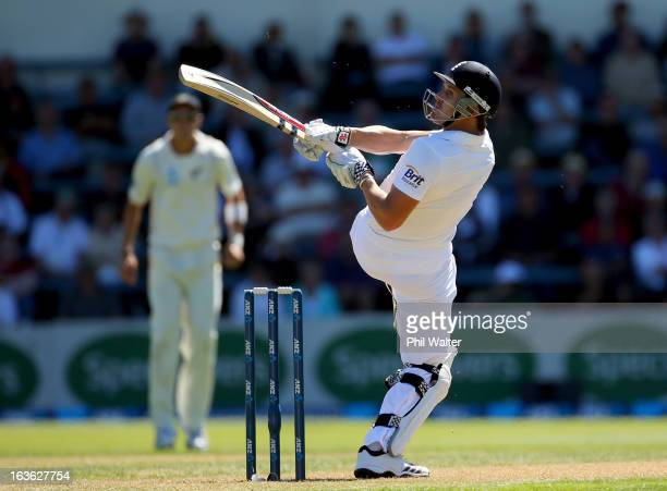 Nick Compton of England bats during day one of the Second Test match between New Zealand and England at the Basin Reserve on March 14 2013 in...