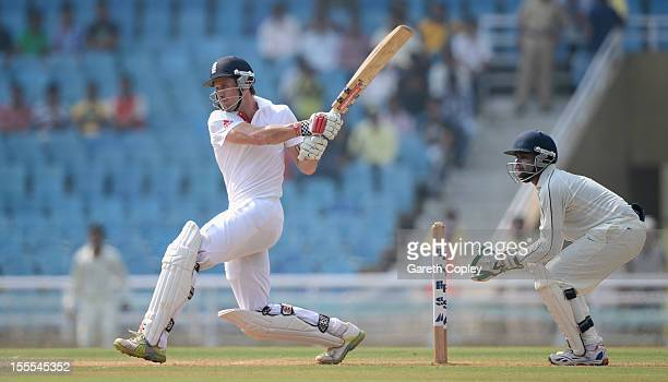 Nick Compton of England bats during day three of the tour match between Mumbai A and England at The Dr DY Palit Sports Stadium on November 5 2012 in...