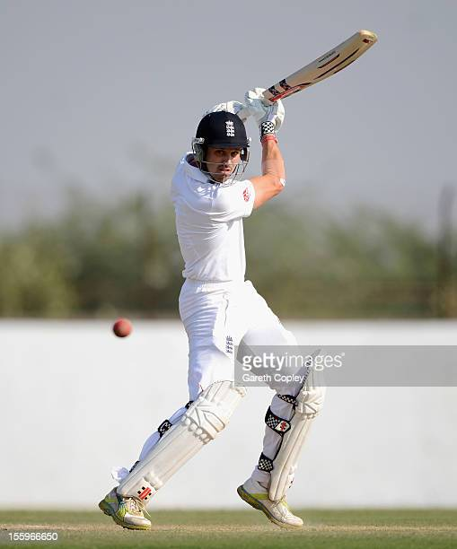 Nick Compton of England bats during day three of the tour match between England and Haryana at Sardar Patel Stadium ground B on November 10 2012 in...