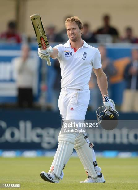 Nick Compton of England celebrates reaching his century during day four of the First Test match between New Zealand and England at University Oval on...