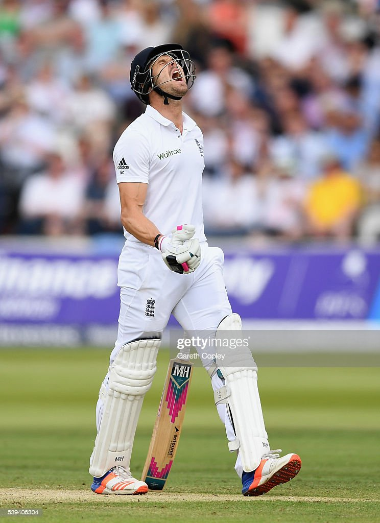 Nick Compton of England reacts after being dismissed by Shaminda Eranga of Sri Lanka during day three of the 3rd Investec Test match between England and Sri Lanka at Lord's Cricket Ground on June 11, 2016 in London, United Kingdom.