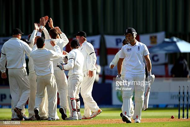Nick Compton of England walks off the field after being bowled by Tim Southee of New Zealand during day two of the First Test match between New...