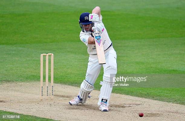 Nick Compton of Middlesex bats during day two of the preseason friendly between Surrey and Middlesex at The Kia Oval on March 23 2016 in London...