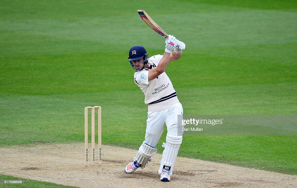 Nick Compton of Middlesex bats during day two of the pre-season friendly between Surrey and Middlesex at The Kia Oval on March 23, 2016 in London, England.