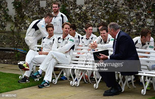 Nick Compton of Middlesex talks with Angus Fraser Middlesex' Managing Director of Cricket during the Middlesex CCC Photocall at Lord's Cricket Ground...