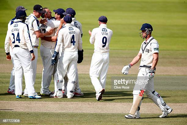 Nick Compton of Middlesex walks off after being dismissed by James Middlebrook as the Yorkshire team celebrate during the LV County Championship...