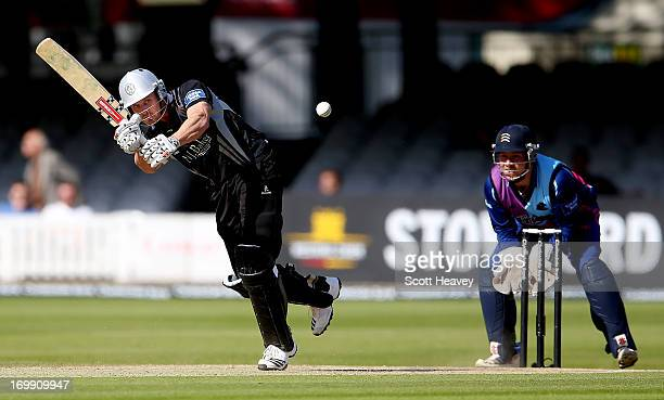 Nick Compton of Somerset is caught by Neil Dexter of Middlesex off the bowling of Ollie Rayner during the Yorkshire Bank 40 match between Middlesex...