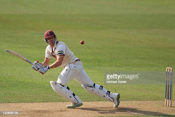Nick Compton of Somerset plays a shot to the legside during day two of the LV County Championship division one match between Warwickshire and...