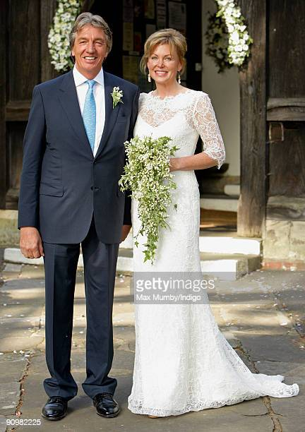 Nick Cook and Eimear Montgomerie leave St Nicholas Church after their wedding on September 20 2009 in Cranleigh England
